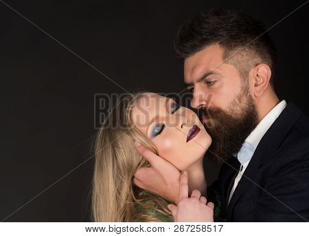 Sensual Pleasures. Intimate Couple In Fashion Clothing. Couple In Love. Style Icons. Bearded Man Hug