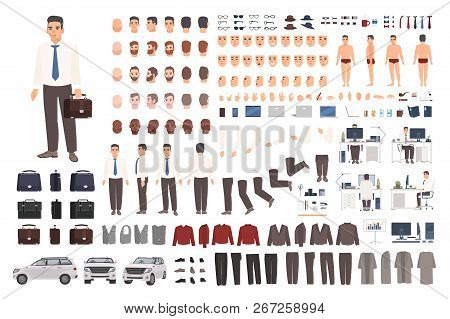 Elegant Office Worker Or Clerk Creation Set Or Diy Kit. Collection Of Body Parts, Stylish Business C