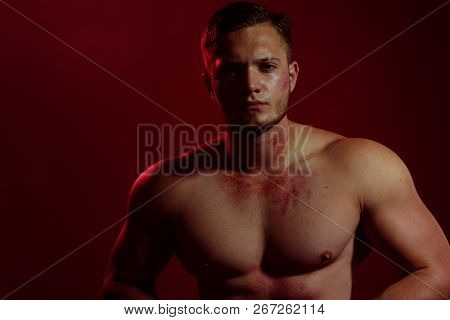 Strength And Masculinity. Young Dirty Worker Man. Strong Man With Muscular Chest. Muscular Man. Cons