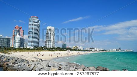 Panoramic View Of The Beaches Of Miami Beach Looking North From The Vantage Point Of Southpointe Par