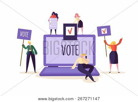 E-voting Concept With Characters Voting Using Laptop Via Electronic Internet System. Man And Woman G