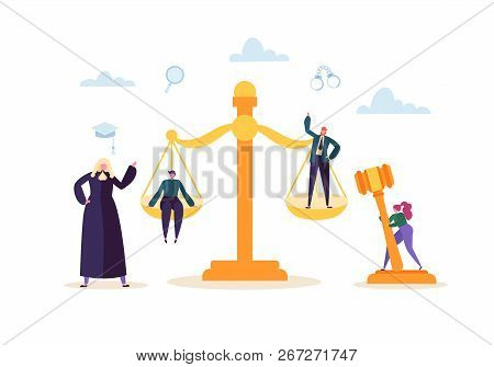 Law And Justice Concept With Characters And Judical Elements, Gavel, Lawyer. Judgment And Court Jury