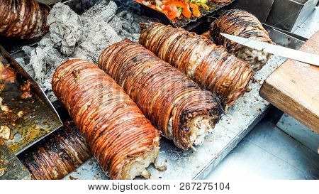 Turkish Street Food Kokorec made with sheep bowel. Traditional fast food. poster