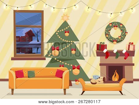 Christmas Flat Vector Of Decorated Living Room. Cozy Home Interior With Furniture, Sofa, Window To W