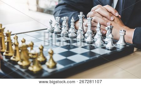 Two Businessman Playing Chess Game To Plan Strategy For Success, Thinking For Planning Overcoming Di