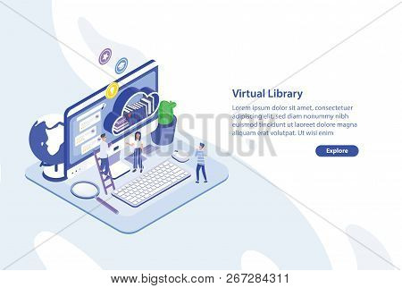 Creative Web Banner Template With Tiny People Standing In Front Of Giant Computer Screen And Shelf O