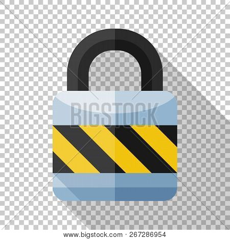 Locked Padlock Icon In Flat Style With Long Shadow On Transparent Background