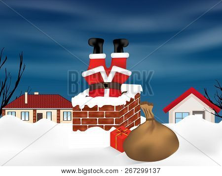 Santa Claus Stuck In The Chimney Upside Down And Sack Full Of Gifts. Winter Snowy Landscape. Christm