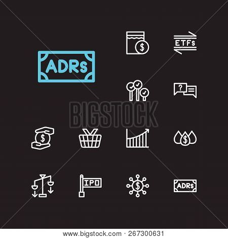 Finance icons set. Rally and finance icons with bid-ask spread, mutual funds and hedge funds. Set of savings for web app logo UI design. poster