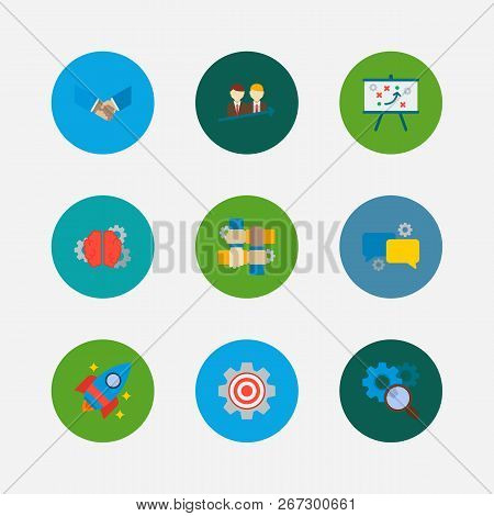 Technology Cooperation Icons Set. Successful Partnership And Technology Cooperation Icons With Techn