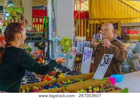 Montreal, Canada - September 09, 2018: Scene Of The Jean-talon Market Market, With Shoppers And Sell