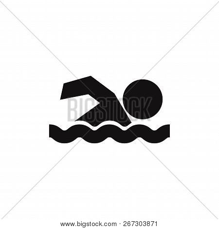 Swimming Icon Isolated On White Background. Swimming Icon In Trendy Design Style. Swimming Vector Ic