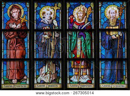 Leuven, Belgium - June 29, 2013: Stained Glass In The Church Of Leuven, Belgium, Depicting Saint Fra