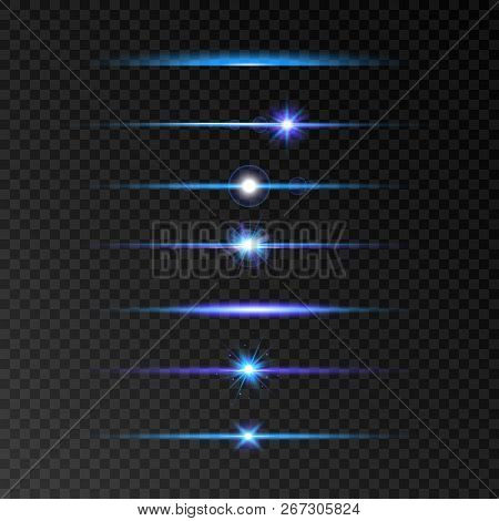 Lens Flare Set. Blue And Violet Glowing Line Set On Transparent Background. Shine Beams. Flash With