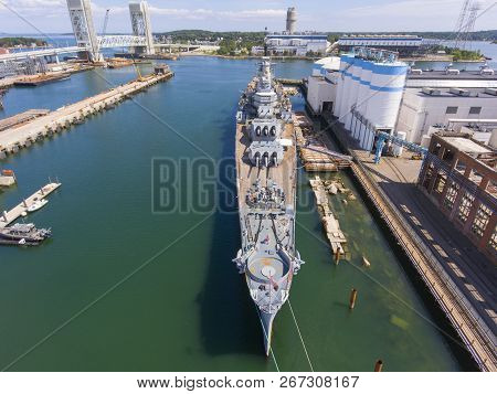 Aerial View Of Uss Salem Ca-139 Heavy Cruiser In Quincy, Massachusetts, Usa. Uss Salem Was Served In