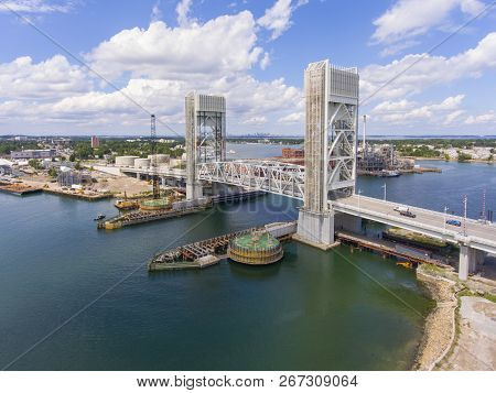 Aerial View Of Weymouth Fore River And Fore River Bridge In Quincy, Massachusetts, Usa. This New Bri