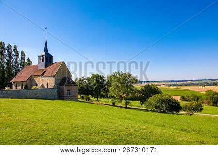 Church Of A Small Village In The Champagne Region In France, Near Reims.