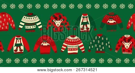 Ugly Christmas Sweaters Seamless Vector Border. Knitted Winter Jumpers With Norwegian Ornaments And