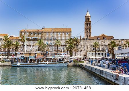 Split, Croatia - July 12, 2017: Sea Ferry In The City Of Split. Sea Ferries In Croatia Are The Main
