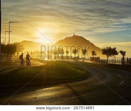 The Sun Sets Behind The Monte Urgull Of San Sebastian, Basque Country, Guipuzcoa. Spain. View From Z