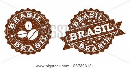 Brasil Rubber Stamps. Vector Seals In Chocolate Color With Round, Ribbon, Rosette, Coffee Bean Eleme