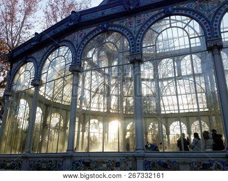Madrid, Spain - January 24, 2018: People In The Ballroom Of The Crystal Palace Palacio De Cristal, L
