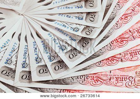 Fondo de negocios de 50 libra esterlina billetes closeup vista