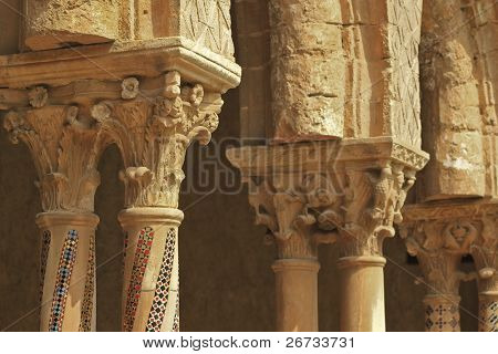 Capitels and columns mosaic detail in Monreale cloister, near Palermo, Sicily