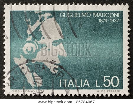 ITALY - CIRCA 1974: a stamp printed in Italy celebrates the first centenary of Guglielmo Marconi birth, the famous italian inventor and Nobel prize in physics. Italy, circa 1974