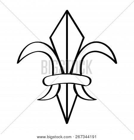 Mardi Gras Symbol. Fleur De Lys Outline. Vector Illustration Design