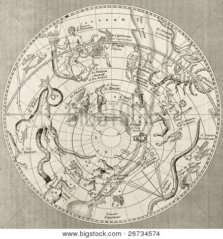 Antique illustration of  Celestial Planisphere (southern hemisphere) with constellations. Original engraving, Taillart sculp., is datable to the half of 19th c.