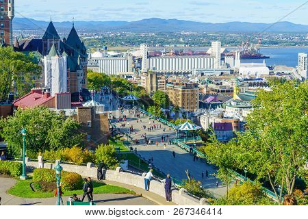 Quebec City, Canada - September 27, 2018: View Of The Lower Town And The Dufferin Terrace From The C