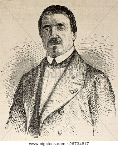 Antique engraved portrait of Denis Auguste Marie Raffet, French illustrator an lithographer. Original, from unknown author, was  published on L'Illustration, Journal Universel, Paris, 1860