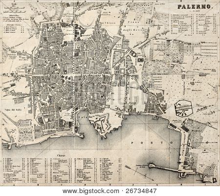 Antique map of Palermo, Italy, bearing 76 numbered marks for places description. Was created by Wagner and Debes, in Leipzig, and may be dated between the end of 19th century and the beginning of 20th poster