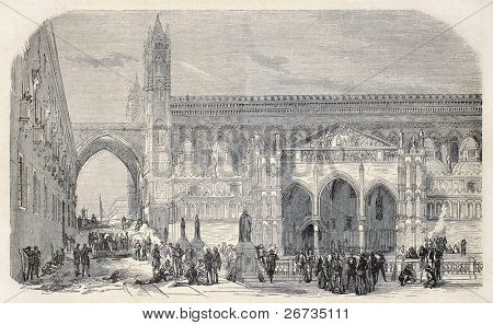 Antique illustration of Palermo cathedral with barricade during revolutionary upraising. Original, from drawing of Durand, published on L'Illustration, Journal Universel, Paris, 1860