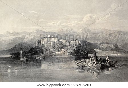 Antique illustration of Lake Garda, northern Italy. Original, created by W. L. Leitch and J. Sands, was published in Florence, Italy, 1842, Luigi Bardi ed.