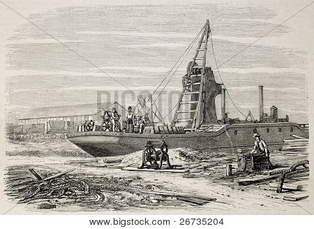 Old illustration of a dredger in Port Said, working in Suez canal excavation. Original, from drawing of Blanchard and Anastasi, was published on L'Illustration, Journal Universel, Paris, 1860