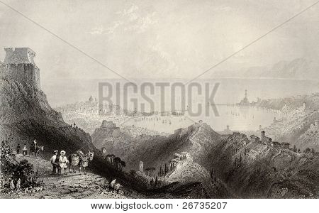 Antique illustration of port of Genoa, Italy: view from an hill. Original, created by W. H. Bartlett and W. Floyd, was published in Florence, Italy, 1842, Luigi Bardi ed.