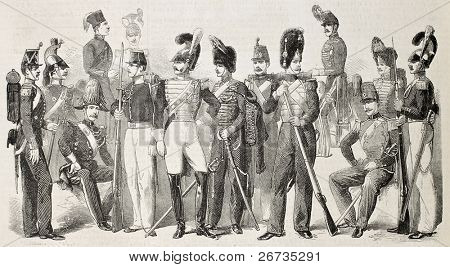 Old illustration of Neapolitan Army uniforms. Original, from drawing of Worms, was published on L'Illustration, Journal Universel, Paris, 1860 poster