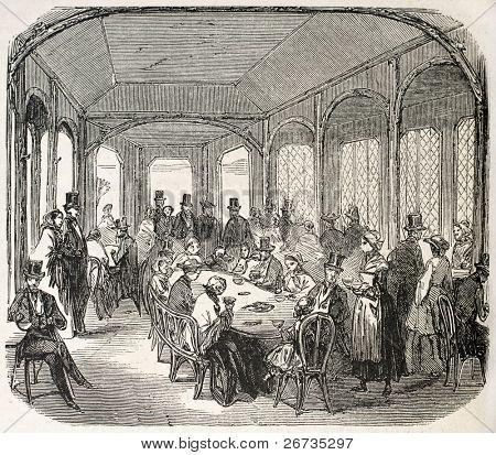 Antique illustration shows Milkbar interior, in the Bois de Vincennes, Paris. Original, from drawing of Gaildrau, was published on L'Illustration, Journal Universel, Paris, 1860