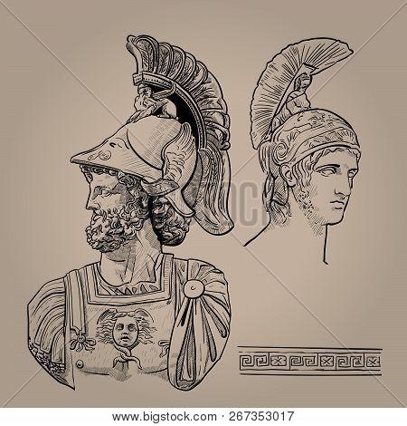 Ares. The Greek God Of War. Digital Sketch Hand Drawing Vector.