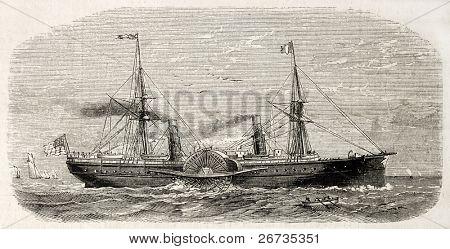 Antique illustration of american steamer sailing. Original, from drawing of Lebreton, after sketch of Barbin, was published on L'Illustration, Journal Universel, Paris, 1860 poster