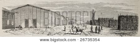 Antique illustration of storehouses in Port Said during Suez canal excavation. Original, from drawing of Blanchard and Anastasi, was published on L'Illustration, Journal Universel, Paris, 1860