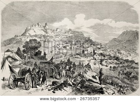 Garibaldi's troops camp near Castrogiovanni (Enna), during expedition of Thousand in Sicily. From drawing of Worms, after sketch of Sutter, published on L'Illustration, Journal Universel, Paris, 1860