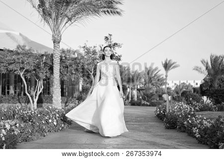 Wedding Day Is Here. Bride Luxury White Wedding Dress Sunny Day Tropic Nature Background. Tropic Wed
