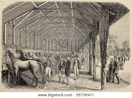 Antique illustration of agricultural contest: horses exposition. Original, from drawing of Blanchard and Lambert, was published on L'Illustration, Journal Universel, Paris, 1860 poster
