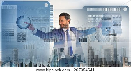 Digital Business Concept. Touch Digital Surface. Businessman Financial Manager Interact Digital Surf