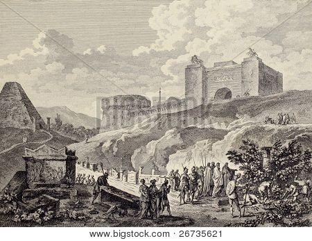 Cicero founds Archimedes grave near Syracuse gate. Created by Aubert and De Ghendt, Published on Voyage Pittoresque de Naples et de Sicilie, by J. C. R. de Saint Non, Impr. de Clousier, Paris, 1786