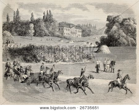Antique illustration of a carriage in the park of Vilgenis with the castle in background. Original, from drawing of Blanchard, was published on L'Illustration, Journal Universel, Paris, 1860