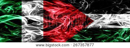 Italy Vs Palestine, Palestinian Smoke Flags Placed Side By Side. Thick Abstract Colored Silky Smoke